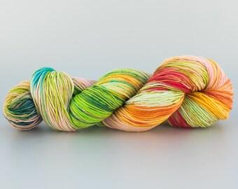 Laine teinte Tricotcolor handdyewool tricot crochet knit fil laine fibre fourniture créative écheveau laine mercerie multicolore bleu