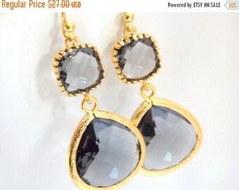 SALE Gray Earrings, Grey Earrings, Gold Earrings, Charcoal Earrings, Wedding, Bridesmaid Earrings, Bridal Earrings Jewelry, Bridesmaid Gifts