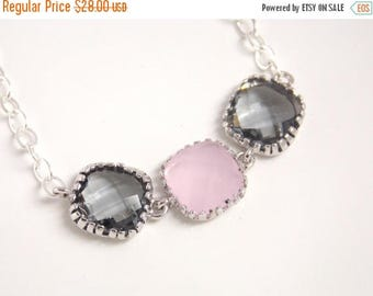 SALE Gray Necklace, Grey Necklace, Pink Necklace, Sterling Silver, Light Pink, Charcoal, Bridesmaid Necklace, Bridal Jewelry, Bridesmaid Gif
