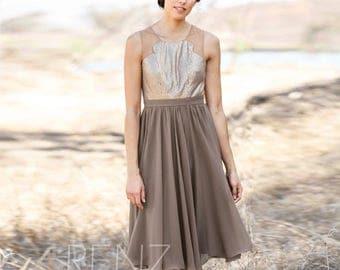 2017 Chiffon Brown Bridesmaid Dress, Beading Wedding Dress, Short Formal Dress, Tulle neck Evening Dress, Prom Dress Knee Length (H065)