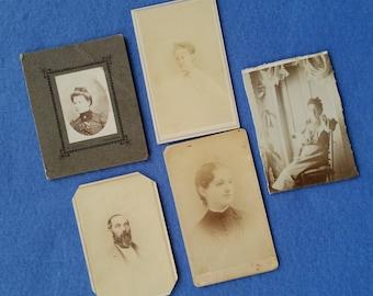 Five Antique Portrait Photographs, antique photos, sepia tone old fashioned portraits