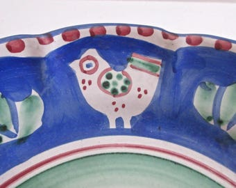 Vietri Italian Plate with Chicken - Campagna Solimene Pottery from Italy