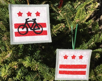 Ornament, DC Flag or Bike DC, your choice, handmade sewn fabric ornament, 4x4 inches, hangs on satin ribbon