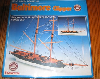 Vintage Spanish Wooden Ship Model Kit of a BALTIMORE CLIPPER Made by Constructo 100%