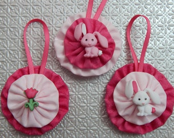 Pink and White Bunnies and Tulip Easter Ornament Set - 3 pc