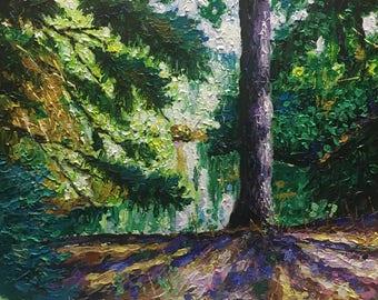 "Original Acrylic Impressionist style Impasto ""Through the Pines"" 11x14"