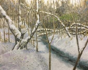 """Original Impressionist Oil Landscape Painting """"Frozen"""" 16x20"""