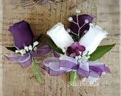 Custom order for Stephanie Purple plum white roses bridesmaid bridal bouquets Wedding Bridal flowers x 8