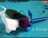 White Calla Lily Boutonniere peacock feather purple plum royal blueGroom groomsman bridal silk real touch wedding flowers father prom