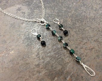 CLEARANCE Convertible gemstone Lariat necklace and earrings set with wire wrapped dark teal Agate beads wear it short or long! FREE SHIPPING