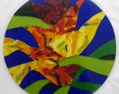RESERVED LISTING for Karen Turner:  Fused Glass Charger with set of 12 coasters - Ulu Pua (Garden of Inspiration)
