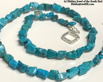 Turquoise Nugget single strand necklace, unisex necklace, blue necklace, sterling silver toggle, 16'' Genuine Turquoise necklace (NE20)