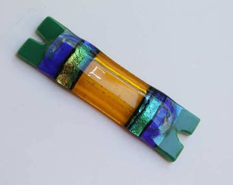 Jewish home blessing mezuzah case fused glass, Hebrew chai, yellow, green, blue dichroic