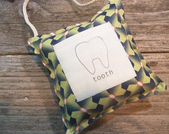 green and blue modern tooth fairy pillow , ready to ship , toddler room decor , blue hanging pillow with pocket , tooth fairy.