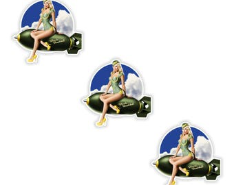 Pin Up Girl 3x Stickers Vintage Sexy #15 - 5x5cm  (2 x 2inches) for Laptop Tablet Helmet Motorcycle Bumper