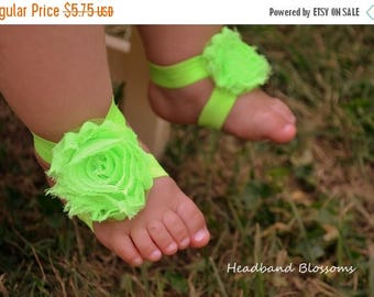SALE READY TO Ship - Adorable Chartreuse Barefoot Sandals - Baby Shoes Frayed Flower Newborn Photo Prop 1st Birthday - Neon Green
