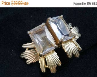On Sale Vintage Designer Scassi Signed High End Rhinestone Earrings - Old Hollywood Glam