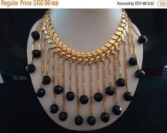 On Sale Vintage Black Glass Crystal Waterfall Bib Statement Necklace Retro Rockabilly Mad Men Mod Old Hollyood Glam Black Tie Jewelry Martin