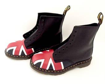 Dr Martens Boots - Union Jack Doc Martens Boots Shoes - British Flag - Black Leather Boots - Womens Boots - Mens Boots - Dr Marten Shoes