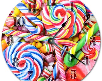 """10.5"""" TASTY COLORFUL CANDIES Clock - Living Room Clock - Large 10.5"""" Wall Clock - Home Décor Clock - 5167"""