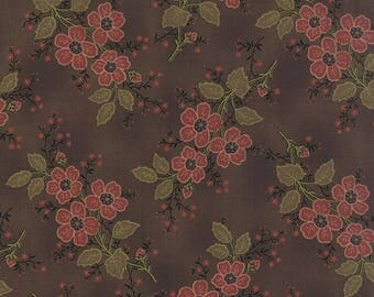 20% off thru 2/22 ALICES SCRAPBAG Moda fabric by the half yard 100 Percent quilt weight cotton Civil War floral BOUQUET on chocolate brown 8