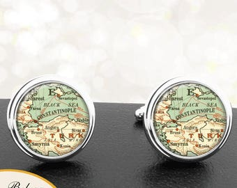 Antique Map Cufflinks Constantinople Turkey Links for Groomsmen Groom Fiance Anniversary Wedding Fathers Dads Men