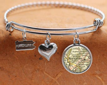 Scranton PA Map Charm Bracelet State of Pennsylvania Bangle Cuff Bracelet Vintage Map Jewelry Stainless Steel Bracelet