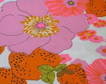 "Vintage Fabric - Strawberries & Flowers - Hot Pink - 45""W - fabric by the yard - material - textile - sewing supply - Retro"