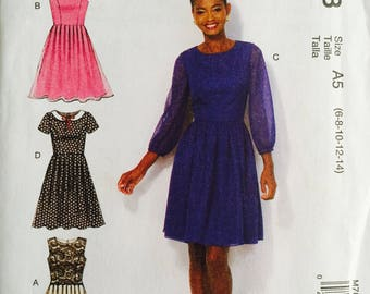 McCall's 7083, Size 6-8-10-12-14, Misses' Dresses Pattern, UNCUT, Fitted, Lined Bodice, Wedding, Party Dress, Sleeve Variations
