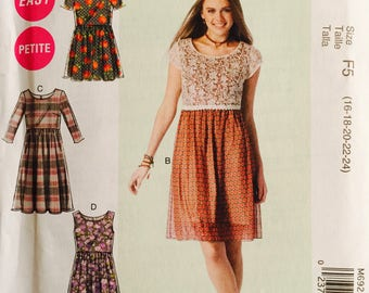 McCall's M6923, Size 16-18-20-22-24, Misses'/Miss Petite Romper and Dresses Pattern, UNCUT, Sundress, Party Dress, Easy Pattern, 2014