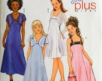 Butterick B4385, Size 7-8-10-12-14, Girls' Plus Jacket and Dress Pattern, UNCUT, Formal Dress, Wedding, Party Dress, Fun, Ankle Length