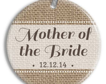 Mother of the Bride Christmas Ornament - Burlap - Personalized Porcelain Newlywed Holiday Ornament - Just Married - orn0449 - Peachwik
