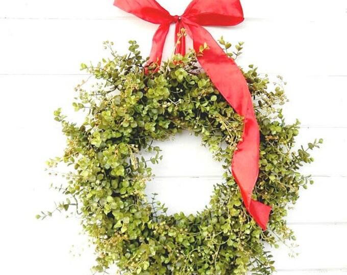 Featured listing image: New Years Wreath-Winter Wreath-EUCALYPTUS Wreath-Holiday Door Wreath-Farmhouse Decor-Year Round Wreath-Weatherproof Wreath-Gift for Mom