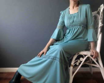 Vintage 70s Sea Glass Green Boho Maxi Dress Stretch Jersey Small