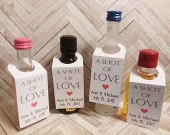 Liquor Bottle Tags 50 CUSTOM / Gift Tags/Shower/Wedding Favor Tags/Mini Bottle Hanger-Thank You / Labels Hang Tags/Liquor tags
