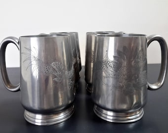 Pewter Huikee Swatow Mugs / Steins / Beer Mug / Drinking Vessel / Dragon Etched / Chinoiserie / SET OF 6