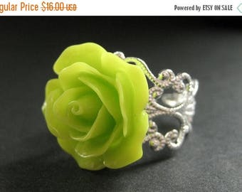 SUMMER SALE Lime Green Rose Ring. Lime Flower Ring. Filigree Adjustable Ring. Flower Jewelry. Handmade Jewelry.