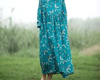 linen loose Long sleeves long dress