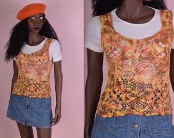 90s Crochet Tank Top/ Small/ 1990s