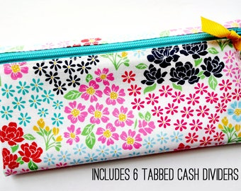 Cash organizer with 6 durable dividers for Dave Ramsey budget | laminated cotton in multicolor flowers