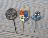 "Set of 3 Vintage Estonian badges,pins.""Estonian cities"""
