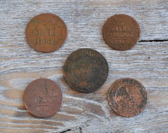 Antique Imperial Russian copper coins. Set of 5.