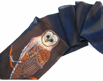 "SALE. Barn Owl Silk Scarf. 8x52"". Hand painted silk scarf. Owl scarf. Painted silk scarves. Painted silk scarf. Hand-painted silk scarf"