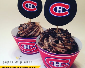 Printable Montreal Canadiens Cupcake Wrappers and Toppers