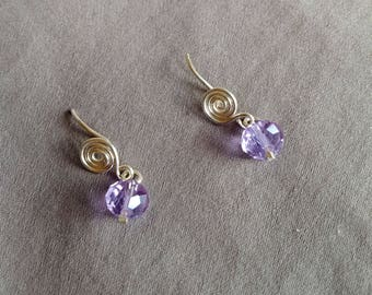 Backless Post Earrings Lilac Swarovski Crystals and Fine Silver Wire