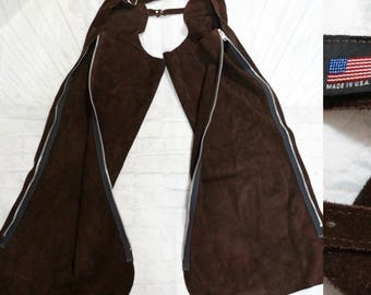 WHITMAN Brown Suede Leather USA Made Riding Chaps Men's Size X-Small / Small