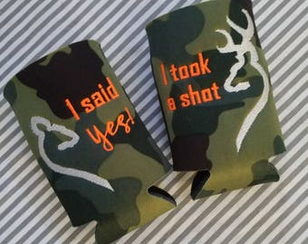 His and Hers can cozies I took a shot, I said YES! engagement couple koozies, doe and buck heart, camo, can cozy
