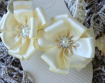 Ivory flip flops for brides, Ivory wedding shoes, Ivory bridal sandals, Ivory bridal flip flops, Ivory bridal shoes, Ivory satin flip flops