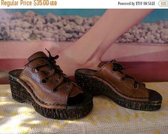 Summer Sale Size 5.5 1970s Platform Cork Sandals Made in Italy