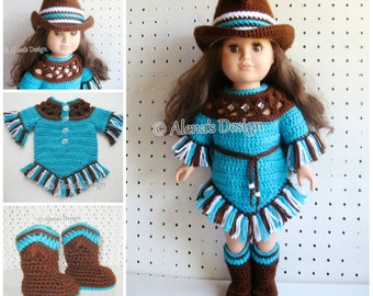 Western Doll Outfit Crochet Pattern Set 18 in Doll American Girl Doll Clothes Crochet Patterns Doll's Boots Cowgirl Hat Dress My Life As AG